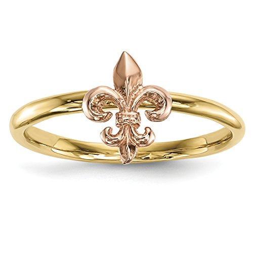 ICE CARATS 14k Two Tone Yellow Gold Fleur De Lis Band Ring Size 7.00 Claddagh Celtic Fine Jewelry Gift Set For Women Heart