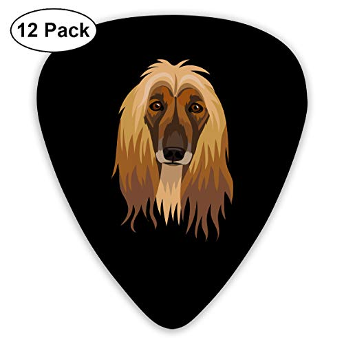 MOCSTONE Guitar Picks Afghan Hound Custom ABS Guitar Plectrums for Bass, Electric & Acoustic Guitars - 12 Pack