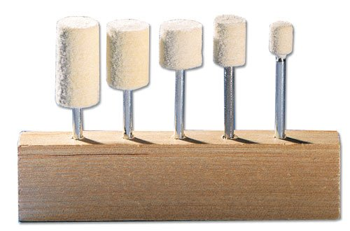 Eastwood 5 Pieces 1/8 in. Deburring and Polishing Felt Bob Kit Buff Bob Mini Cylinder Assortment for Rotary Tools