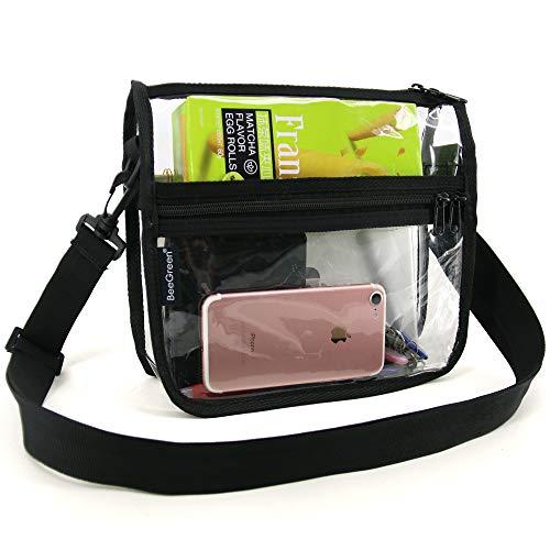 (Clear-Crossbody-Purse-Bag-NFL,NCAA & PGA Stadium Approved Clear Shoulder Messenger Bag with Adjustable Shoulder Strap for Work School, Sports Games)