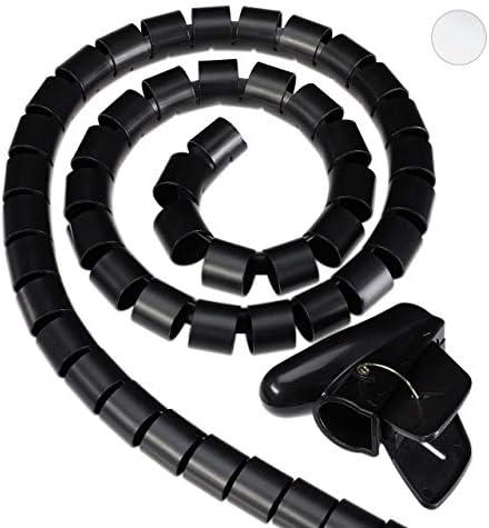 Relaxdays Guaina Raccoglicavi a Spirale 2,5 m, Nascondi Cavi Flessibile, Lunghezza Regolabile, con Pinza-Guida, D 20mm, Nero