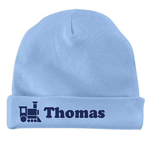 FUNNYSHIRTS.ORG Baby Boy Thomas Train Hat: Infant Baby Hat Light Blue (Thomas The Train Beanie Baby)