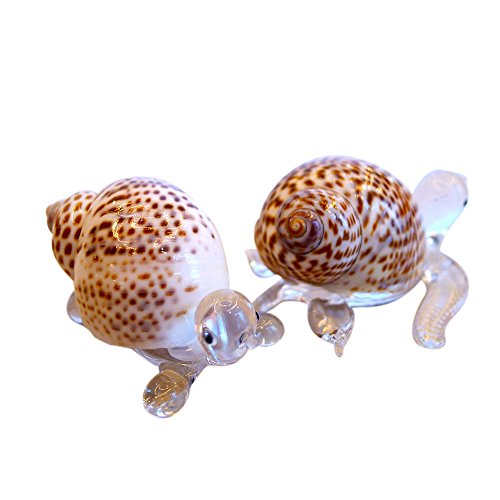 (Sansukjai 2 Pcs Turtle & Sea Turtle Miniature Figurines from Blown Glass Mix Natural Shell Beach Animals Collectible Gift Home Decor#6)