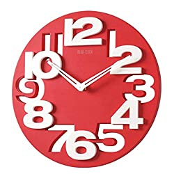 SUPVOX 3D Big Digital Modern Contemporary Home Office Decor Round Wall Clock (Red)