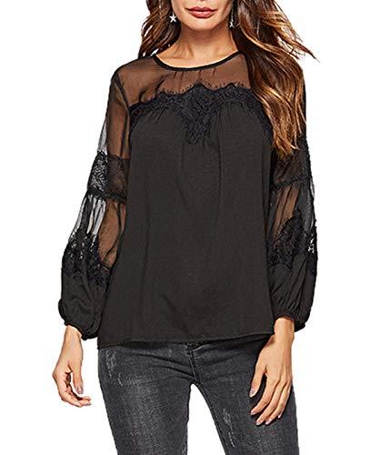 Tees Femmes T Fashion JackenLOVE Noir Manchon Printemps Lanterne Blouse Casual Automne Tops Col Rond Hauts et Tulle Shirts pissure Lache gwtwzUq