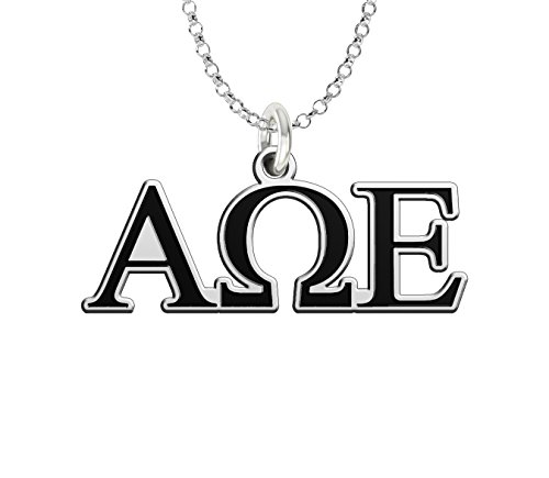 (Alpha Omega Epsilon Sterling Silver Antique Letters Charm)