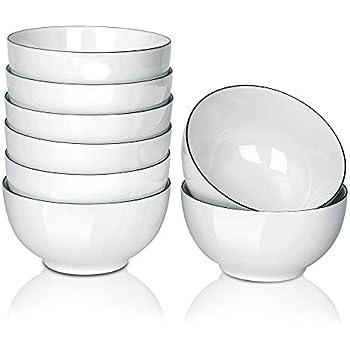 AnBnCn 8 Packs/15-Ounce Porcelain Small Bowl Set for Ice Cream Dessert,Small Side Dishes,Dip-White