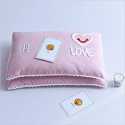 Almohada de algodón Almohada de Trigo sarraceno Bordada (con núcleo de Almohada) Funda de Almohada algodón Puro Lavado núcleo de Almohada de algodón (Pink)