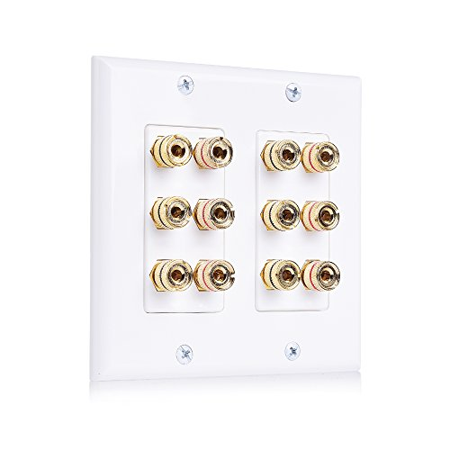 - Cable Matters Double Gang Speaker Wall Plate (Banana Plug Wall Plate) with Binding Post for 6 Speakers in White