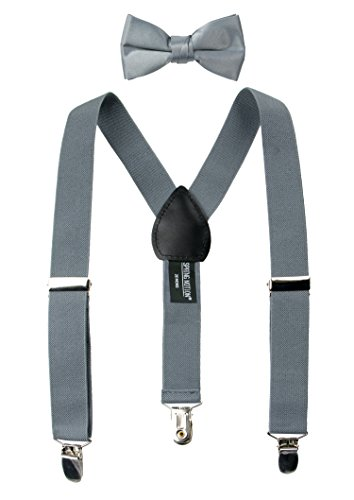 Spring Notion Boys' Suspenders and Solid Color Bowtie Set Meduim Grey Large