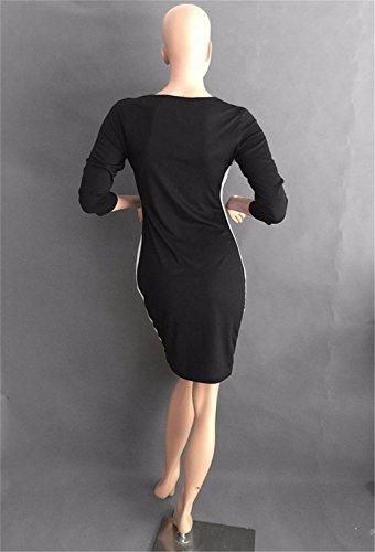Cosiendo vestidos paquete de vestir de manga delgada de las mujeres del cortocircuito del cuello V Medida de la cadera del algodon negro
