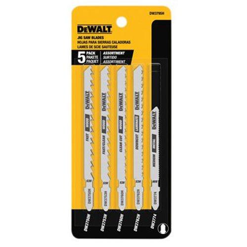 DEWALT DW3795H 5 Piece HCS/HSS Jig Saw Blade Set - T Shank - Hss Shank Jigsaw Blade