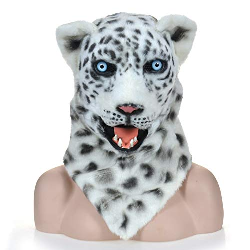 ZITEZHAI-Animal mask Moving Mouth Realistic Animal Snow Leopard Mask Animal Carnival Costume Masks (Color : White, Size : 2525) -