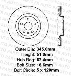 5lug Front Rotors 2 Cross-Drilled Disc Brake Rotors Fits:- CTS Caprice Heavy Tough-Series