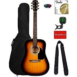 Fender FA-115 Dreadnought Acoustic Guitar – Sunburst Bundle with Gig Bag, Tuner, Strings, Strap, and Picks