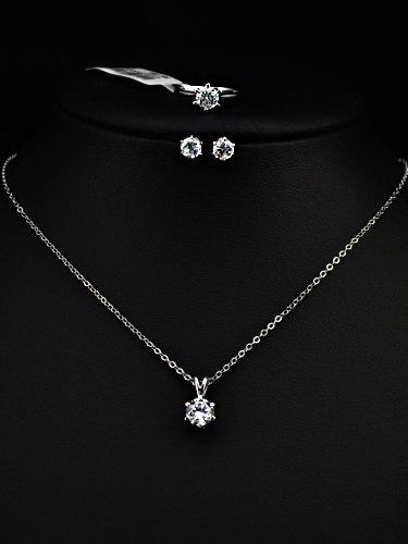 597d620ea27a2 Parure Éternelle collier solitaire+boucles d oreilles+bague AJUSTABLE ornée  de Swarovski