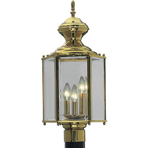 Progress Lighting P5432-10 Hexagonal Post Lantern with Clear Beveled Glass, Polished Brass - Hexagonal Beveled Glass