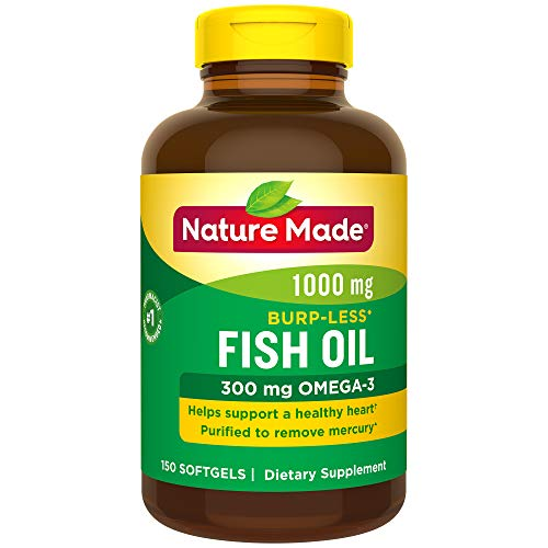 Nature Made Burp-Less Fish Oil 1,000 mg Softgels, 150 Count for Heart Health† (Packaging May Vary)