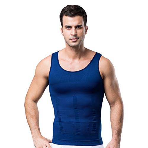 Mens Muscle Compression Tank Top, Navy Compression Shirt, Small