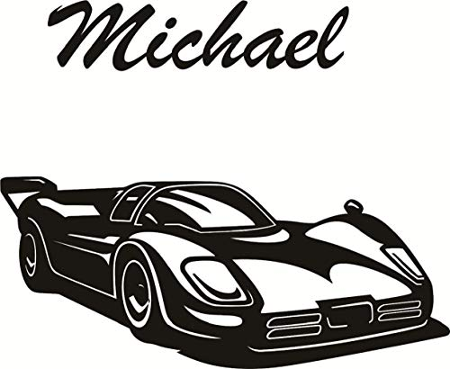Cool Personalised Name Boy Bedroom Wall Stickers Race Car Black Wall Decals Kirds Room Nursery Wall Art Decor-You select name&color