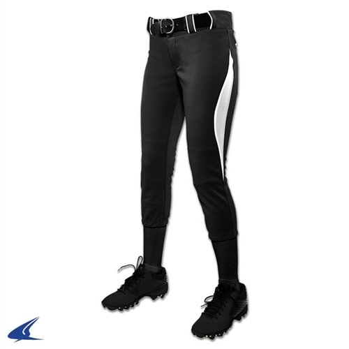 Champroサージ従来Low Rise Fastpitch Pants – Girl 's B0767R4G9Y Small|ブラック/ホワイト ブラック/ホワイト Small