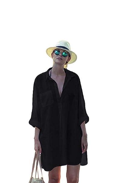 703b12101b KingsCat Classic Painters Bikini Shirt Dress/Swimsuit Cover Up, Black at  Amazon Women's Clothing store: