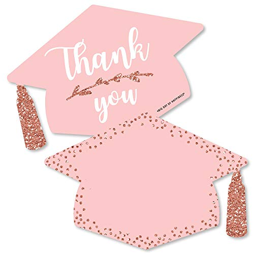 - Rose Gold Grad - Shaped Thank You Cards - Graduation Party Thank You Note Cards with Envelopes - Set of 12