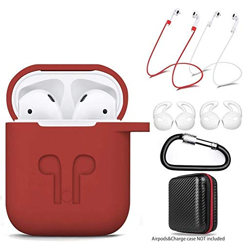 amasing Case 7 in 1 Accessories Kits Protective Silicone Cover and Skin for Charging Case with Ear Hook Grips/Airpods Staps/Airpods Clips/Skin/Tips/Grips