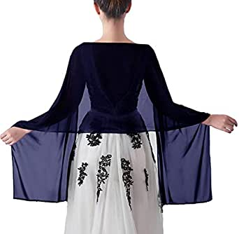 Chiffon Shawl Scarve Wraps and Shawls Soft Pashmina for Evening dresses on formal occasions (Navy)