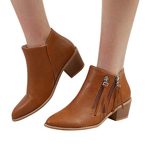 Schuhe Damen Aushöhlen Klassische Stiefeletten Herbst Leder Gelb Martin Halb Schuhe Boot Frauen Winter Stiefel Stiefel ABsoar Heel Lässig Boots Freizeitschuhe OYBqwxd7