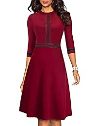 Edjude Ejude Women's Chic Wear to Work Dress Lady Crew Neck 3/4 Sleeve Party Aline Formal Casual Dress Clothes