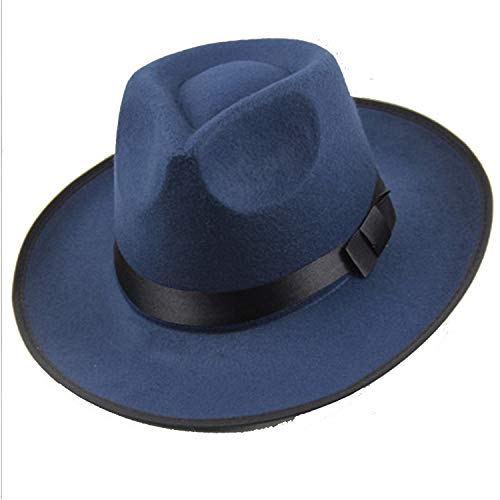 HiiWorld Vintage Men Women Felt Hat Wide Brim Fedora Trilby Panama Hat Gangster Cap Pure Color Jazz Hat Blue -