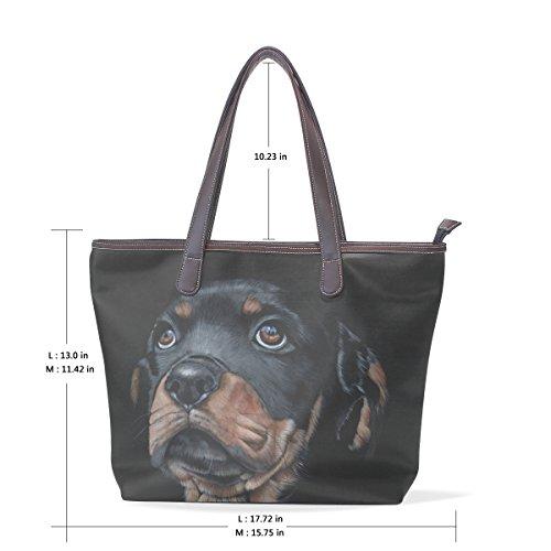 tracolla Borsa cane Pu Bag impugnatura cm grande muticolour Womens Leather COOSUN a Tote Rottweilerps 33x45x13 L XqwA0nxF