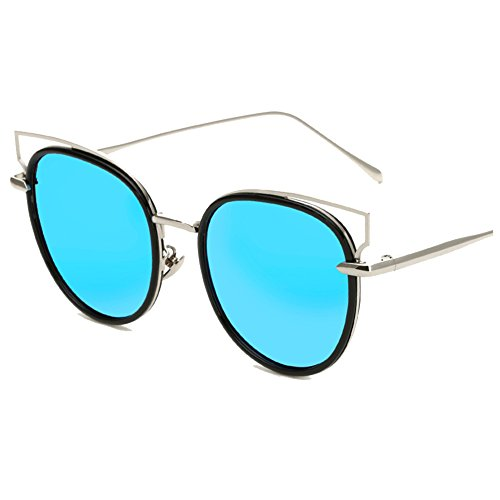 TOREEP Womens Cat Eye Style Color Frame Sunglass(Blue) (Cat Suite)