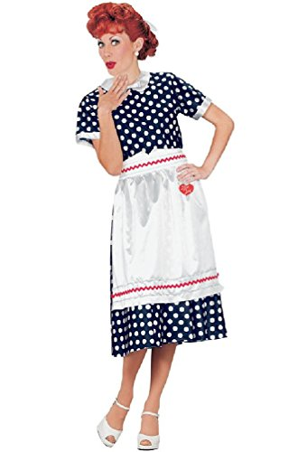 [8eighteen I Love Lucy Polka Dot Dress Lucille Ball Adult Halloween Costume] (Lucille Ball Costumes For Halloween)
