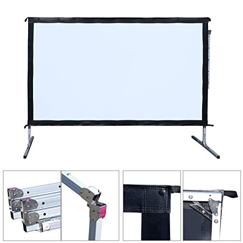 Outdoor Indoor Projector Screen with Stand, 144 inch HD Foldable Portable Projector Screen, 8K 4K 3D 16:9 Projection Movie Screen for Home Theater Camping Recreational Events, Waterproof, Anti-Crease by Stamo (Image #7)