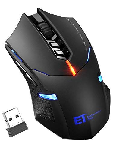 Homteck Wireless Gaming Mouse Unique Silent Click, Breathing Backlit, 2 Programmable Side Buttons, 2400 DPI, Ergonomic Grips, 7-Button Design- Black