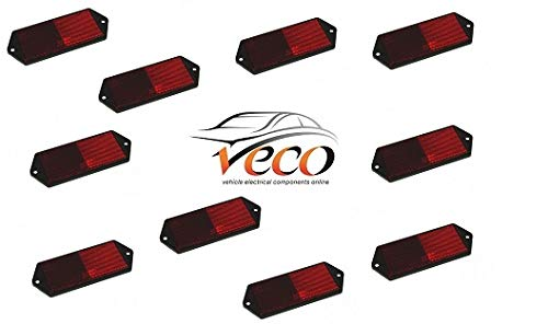 RADEX X10 REAR RED SCREW ON RECTANGLE WARNING REFLECTORS MARKERS TRAILERS TRUCKS MULTI USE MP8857