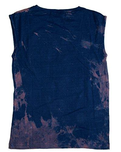 T-Shirt Indianer ärmellos marineblau Baumwolle Größe L Bleaching, Siebdruck & Textilfarbe Unikat aus den 1990er Jahren