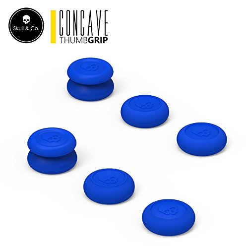 Skull & Co. Skin, CQC and FPS Thumb Grip Set Joystick Cap Analog Stick Cap for Nintendo Switch Pro Controller & PS4/Slim/Pro Controller- Blue, 3Pairs(6pcs) ()