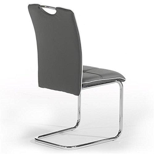idimex lot de 4 chaises de salle manger eleonora pitement chrom revtement synthtique gris amazonfr cuisine maison