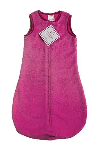 SwaddleDesigns Microfleece Sleeping Sack with 2-Way Zipper, Very Berry Puff Circles, 6-12MO