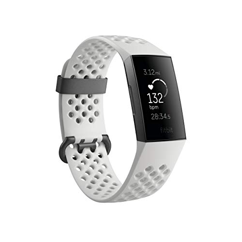 Fitbit Charge 3 SE Fitness Activity Tracker Graphite/White Silicone, One Size (S & L Bands Included)