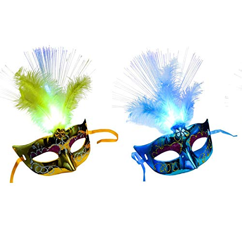 Mask, Feather Mask, Feather Mask for Party 2pcs Women Venetian Venice Glowing Feather LED Masks Carnival Halloween Masquerade Cosplay Costume Party Supplies Blue + Yellow