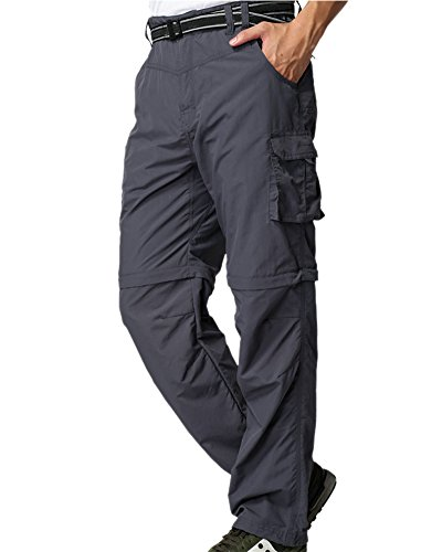 - Men's Outdoor Anytime Quick Dry Convertible Lightweight Hiking Fishing Zip Off Cargo Work Pant M885 Gray,29