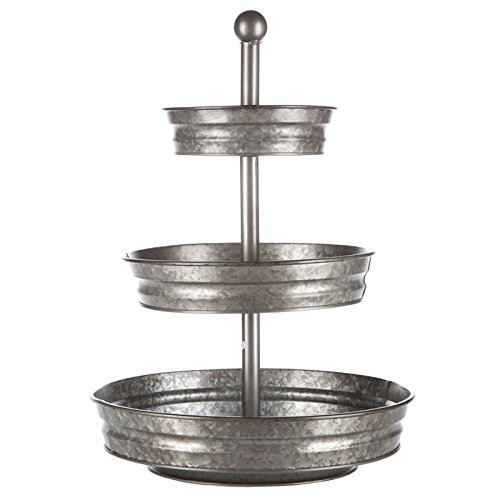 1 x 3 Tier Galvanized Round Metal Stand Outdoor Indoor Serveware