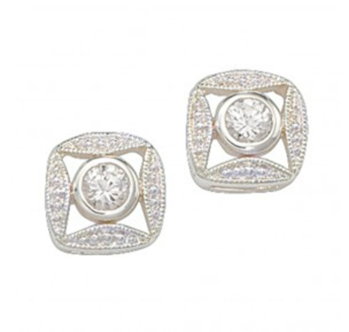 - Montana Silversmiths Womens Square Crystal Earrings Silver