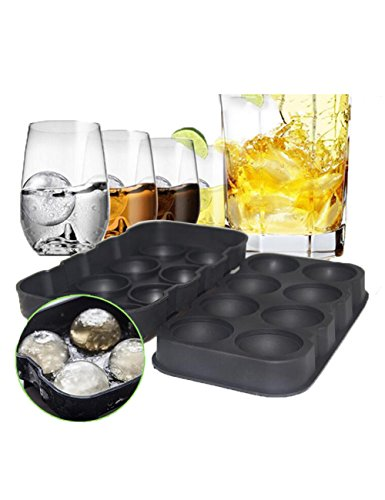 Ice Cube Trays Sphere Silicone Ice Ball Maker 8, Perfect for Gin Glasses, Whiskey, Cocktail, Party and Any Drink-100% BPA Free, Black