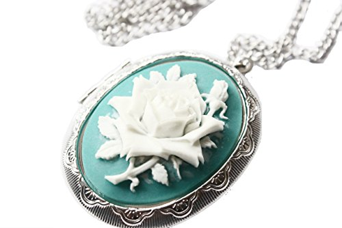 Rose Cameo Locket Necklace Love Rose Cameo ()