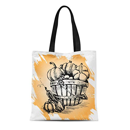 Semtomn Canvas Tote Bag Shoulder Bags Pattern Colorful Food Pumpkins Orange Painting Agriculture Autumn Cartoon Women's Handle Shoulder Tote Shopper Handbag